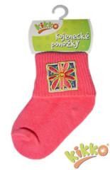 Kojenecké ponožky bavlna KIKKO 0 - 6 měs RŮŽOVÉ typ 28