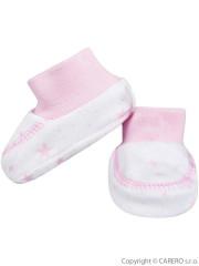 Kojenecké bavlněné capáčky Baby Service Hvězdy bílo-růžové