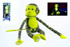Opice svítící ve tmě plyšová šedá/žlutá