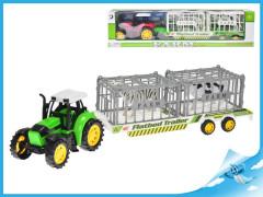 Traktor s vlečkou 50cm na setrvačník se zvířátky v kleci 2ks