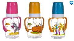 Láhev s potiskem kontinenty 120 ml s úchyty bez BPA