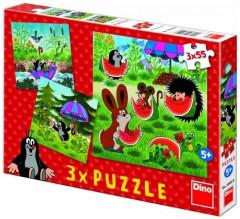 Puzzle Krtek a paraplíčko 3 x 55 dílků