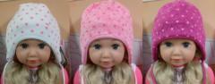 Zimní dívčí zavazovací čepice s potiskem srdíček vel. 2 (44-46cm)