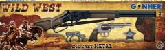 Kovbojská sada velká - puška, revolver, pouta, šerifská hvěz