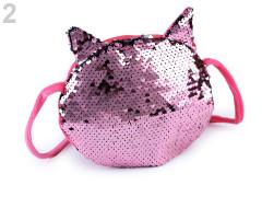 Dětská kabelka kočka s oboustrannými měnícími flitry 16x17 cm