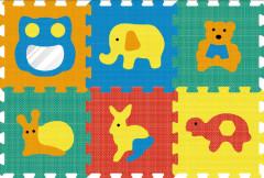 Pěnové puzzle - koberec zrcadlo zvířata 32 x 32 cm, 6 dílků