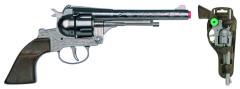 Revolver kovbojský stříbrný, kovový - 12 ran