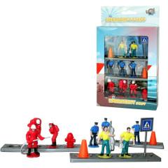 Figurky záchranáři plast 4cm 8ks s doplňky v krabičce