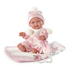 Panenka - New Born holčička v růžovo-bílém oblečku 26 cm
