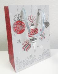 Dárková taška vánoční s glitry 26x32 cm VÁNOČNÍ BAŇKY