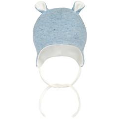 Kojenecká zavazovací čepička s oušky melírek Baby Service modrá Vel. 56 - 68