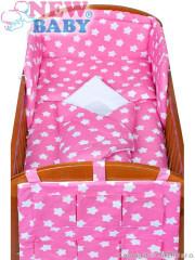5-dílné ložní povlečení New Baby 90/120 cm hvězdičky růžové