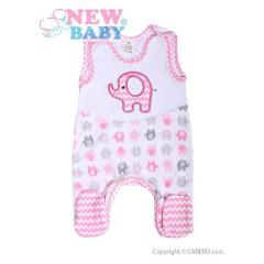 Kojenecké dupačky New Baby Sloník bílo-růžové
