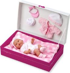 Panenka/miminko vonící 26cm tvrdé tělo s doplňky v krabici
