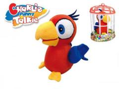 Papoušek Charlie opakující slova 15cm plyš na baterie se zvukem v kleci