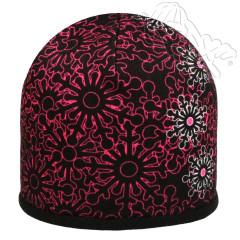Zimní dívčí čepice fleece vločky růžové RDX