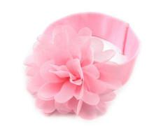 Dětská elastická čelenka s květem růžová