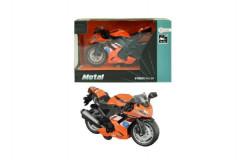 Motorka silniční oranžová kovová 12cm na zpětné natažení