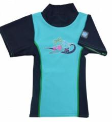 Plážové UV triko - Modré, krátký rukáv