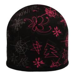 Zimní čepice fleece zimní vzory černo-růžová RDX