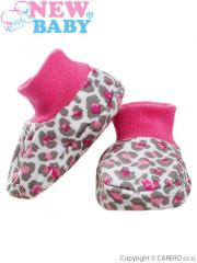 Kojenecké bavlněné capáčky New Baby Leopardík růžové