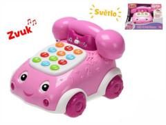 Telefonek 16 cm naučný růžový 2 funkce na baterie se světlem a zvukem