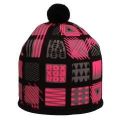Zimní čepice s bambulkou čtvercové vzory růžová RDX