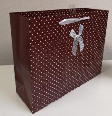 Dárková taška střední puntíky hnědá 25 x 20 cm Albi