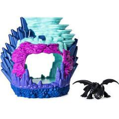 Draci 3 svítící Dračí jeskyně s figurkou bezzubky