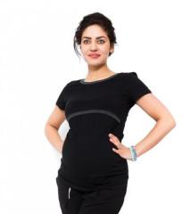Těhotenské a kojící triko Aldona - Černá