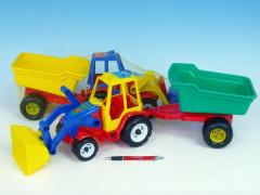 Traktor s vlekem a radlicí plast 64cm
