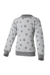 Mikina hvězdičky lem - šedý melír hvězdičky