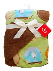Dětská oboustranná deka s chrastítkem Bobo Baby hnědá