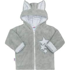 Zimní dětská mikina New Baby Ušáček ŠEDÁ
