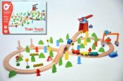 Vlak dřevo s dráhou + doplňky 75 ks v krabici