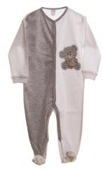 Kojenecký overal dlouhý rukáv/nohavice šedý/bílý + medvídek