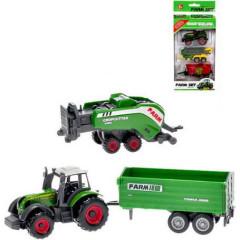 Traktor kov 8cm s vlečkami 2ks volný chod