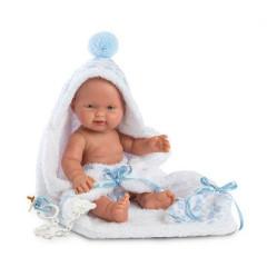 Panenka - New Born chlapeček s modrou bambulí  26 cm