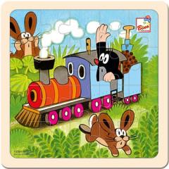Puzzle na desce dřevo - Krtek a mašinka, 20ks Bino