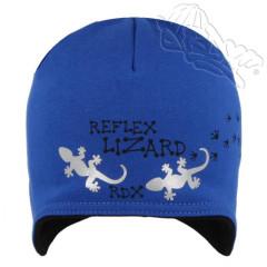 Bavlněná čepička na uši s ještěrkou a reflexními prvky modrá RDX