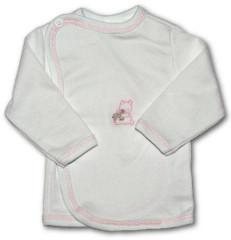 Kojenecká košilka zavinovací VYŠÍVANÁ (BÍLO-RŮŽOVÁ)