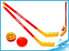 Hokejky 75cm 2ks s míčkem a pukem