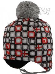 Zimní zavazovací čtverečky vel. 3 (46-48cm) ČERVENÁ S ŠEDOU BAMBULÍ