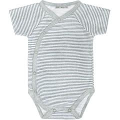 Bavlněné body krátký rukáv šedé proužky Baby Service