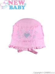 Letní dětský klobouček New Baby Sweet Butterfly vel. 74 RŮŽOVÝ