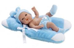 Panenka/miminko vonící 33cm modré tvrdé tělo