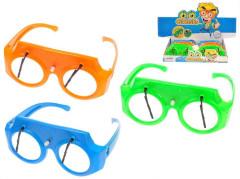 Brýle 16,5cm se stěrači na klíček 3barvy 12ks v DBX