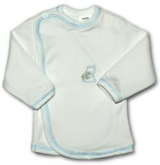 Kojenecká košilka zavinovací VYŠÍVANÁ (BÍLO-MODRÁ)