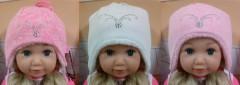 Zimní dívčí zavazovací čepice s kamínky