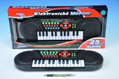Piánko/Varhany 41x13cm 25 kláves na baterie v krabičce